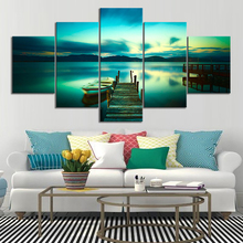 Canvas Print Picture Wall Art 5 Pieces Paintings Lakeside Landscape New Style Home Decoration Module Poster Living Room Frame