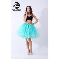 FOLOBE Light Green Handmade Midi Tulle Skirt American Apparel Tutu Skirts Women Ball Gown Party Petticoat