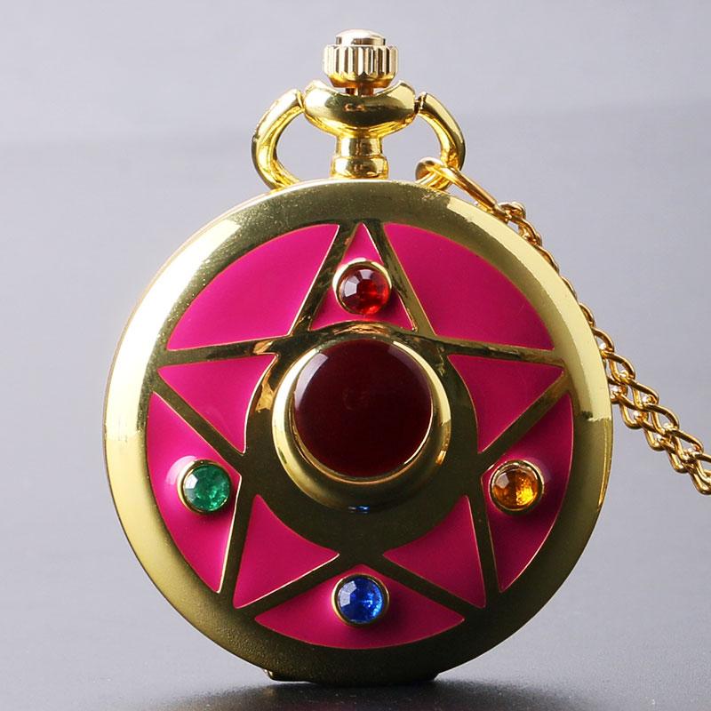 Golden Sailor Moon tēma Kaklarota Pendant Quartz Pocket Watch ar kaklarotu ķēdes meitene dāvanu