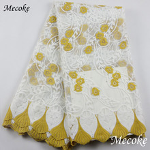 Best Quality African Lace Fabric Floret Swiss Voile Lace High Quality Emboridery French Mesh cord lace 2019 French Lace Fabric