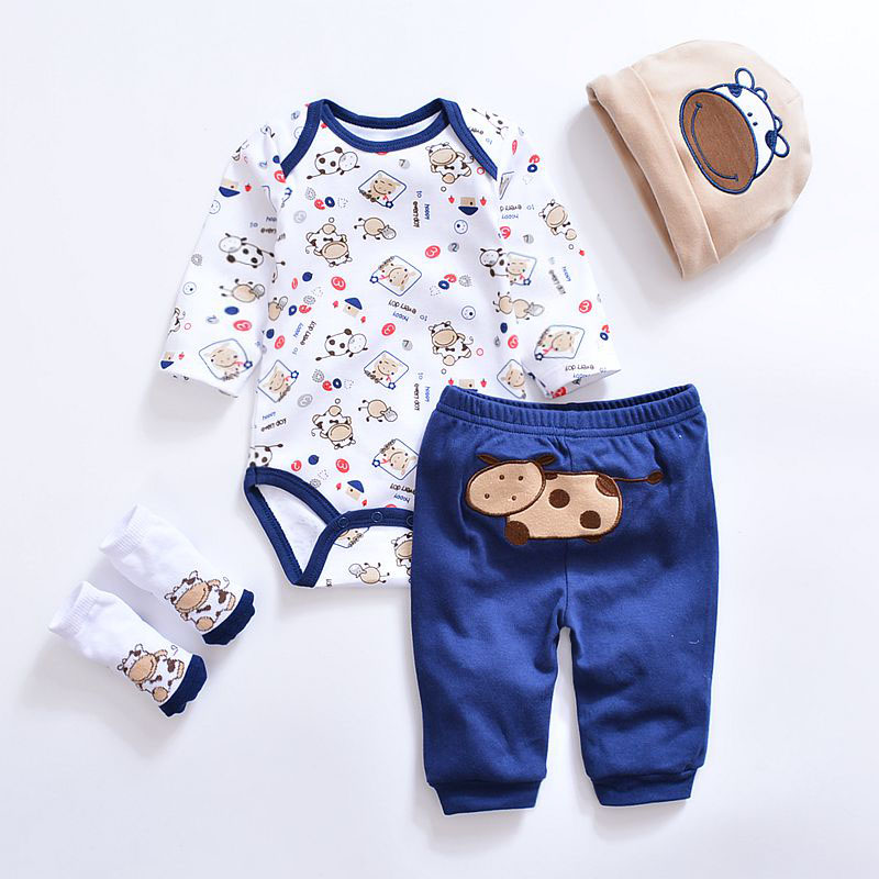 2017 cartoon animal baby Clothing Sets cotton baby boy ...
