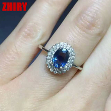Natural sapphire ring real gem rings solid 925 sterling silver gem stone woman gold plated deep blue stone precious Jewelry