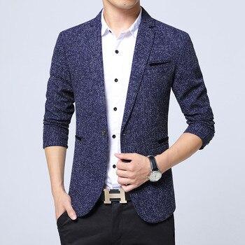 Casual Slim Fit Suit Men Solid Color Suits Blazers