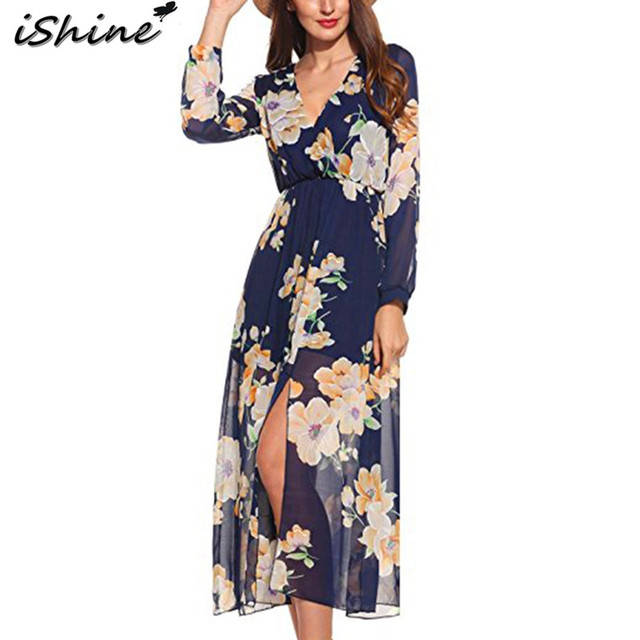 639c56352f iShine autumn deep v sexy side split chiffon long dresses casual women  vestidos robe floral printed boho floor length maxi dress