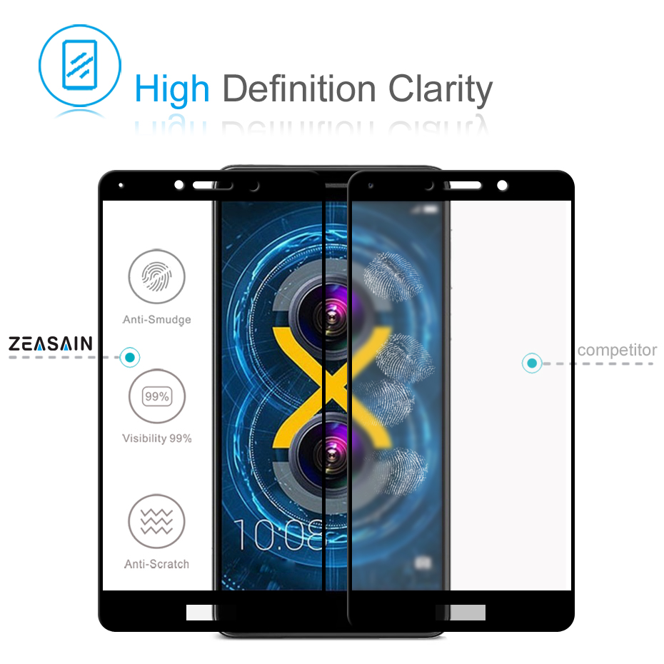 ZEASAIN Penuh Penutup Kaca Tempered untuk Huawei Honor 6X6 X Honor6X - Aksesori dan suku cadang ponsel - Foto 3