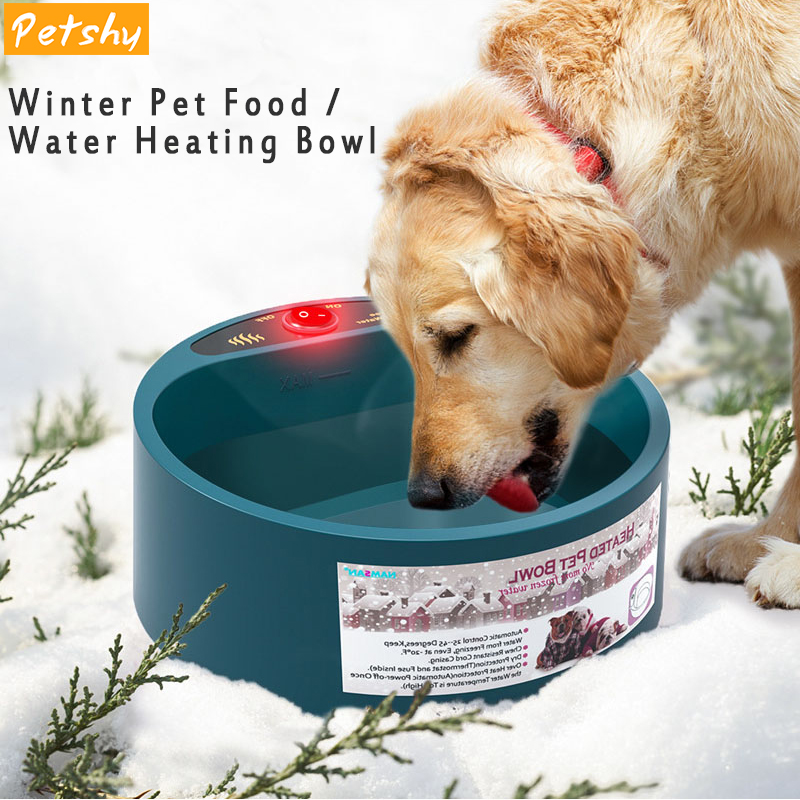 Petshy 2L Pet Dog Bowl Winter Food Water Heated Bowl Dish Puppy Cats Pets Feed Cage Bowl Automatic Constant Temperature