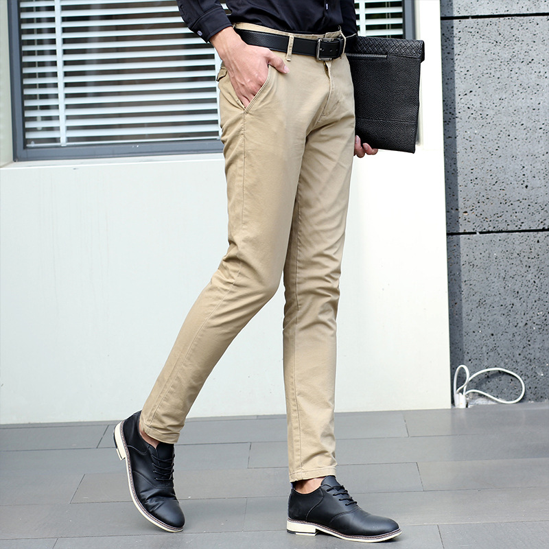 2018 Spring New Mens 4 Color Slim Chino Soft Denim Stretch Jeans Pants Dress Trouser khaki Black Size 28 38-in Casual Pants from Men's Clothing    1