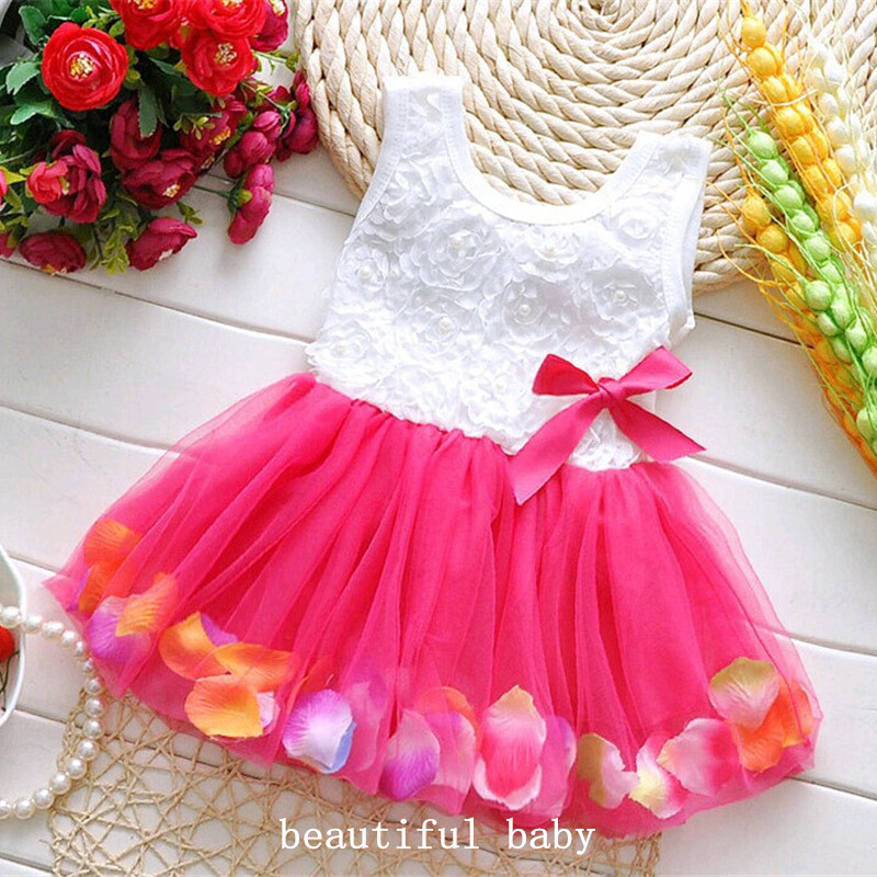 2017 summer dress cotton kids clothes baby infant petals hem tutu dress chiffon newborn baby girls