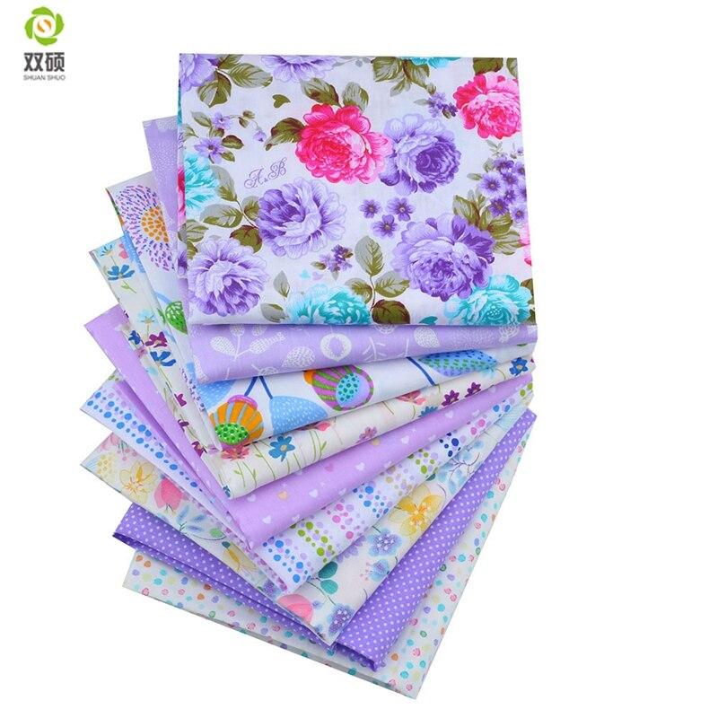 Shuanshuo Purple Bundle Patchwork Cotton Fabric Fat Patchwork Sewing Fabrics Doll clothing Tilda Quilt Tissue 9 PCS/LOTS 40*50CM craft