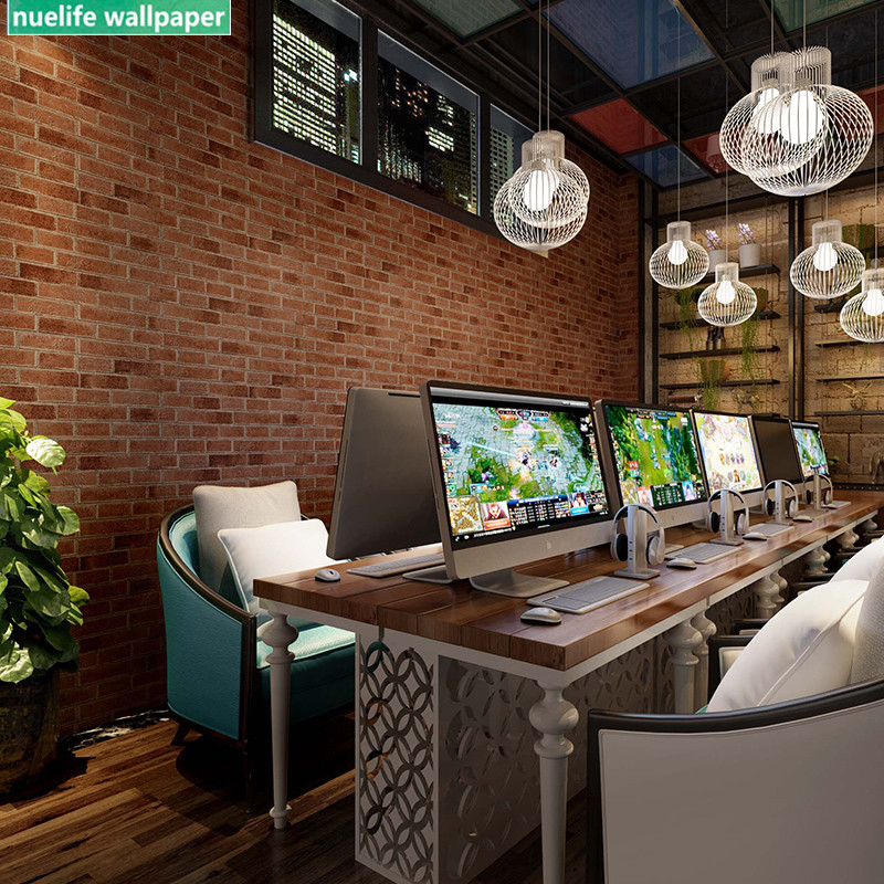 Chinese style brick pattern blue brick red restaurant hotel internet cafe living roombackground wall new waterproof wallpaper