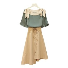 Fashion Women Summer Bow Plus Size Two Pieces Skirt Set Flare Chiffon Blouses Shirt Suits Lace Up Top High Waist Irregular Skirt