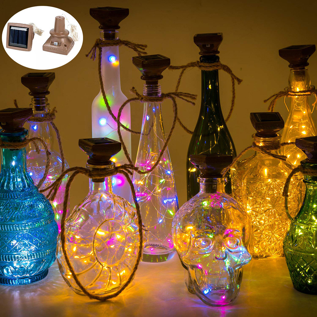 Wine Bottle Lights Solar Energy LED Light Wine Bottle Silver Copper Wire Colorful Fairy Mini String Lights Lamp Decor Jl19