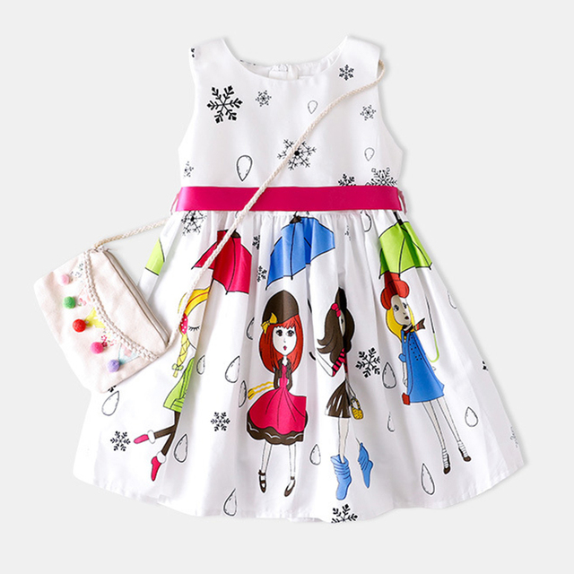 9e04974d7336c US $17.88 |Shybobbi Summer Girls Dress Girl Umbrella Cartoon Belt Cotton  Dresses Party Casual lovely Baby Kids Clothing Size 2 8-in Dresses from ...