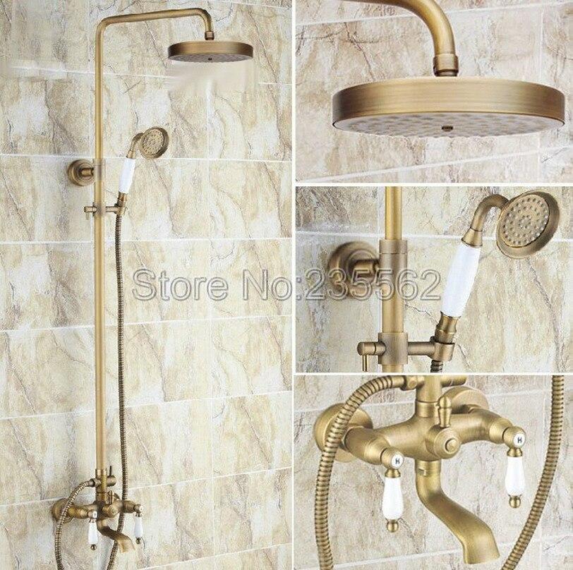 Dual Ceramic Handles Bathroom Mixer Tap Tub Spout Hand Shower Unit Shower Faucet Antique Brass Finish Shower Faucets lrs149
