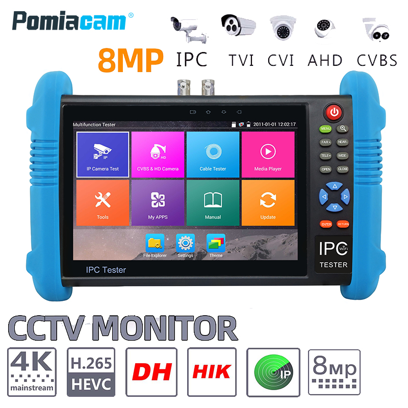 IPC9800ADHS Plus 7 Inch 6-In-1 IP HD CCTV Tester Monitor H.265 4K IP 8MP 5MP 1080P Analog AHD TVI CVI SDI Camera Tester ONVIF