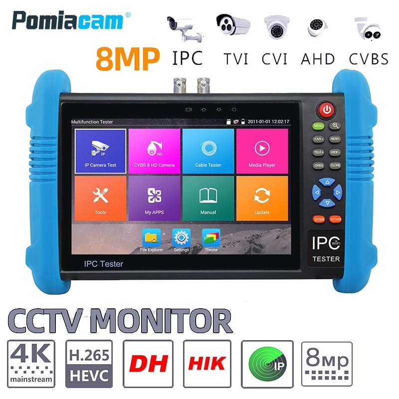 IPC9800ADHS Plus 7 Inch 6-In-1 IP HD CCTV Tester Monitor H.265 4K IP 8MP 5MP 1080P Analog AHD TVI CVI SDI Camera Tester ONVIF