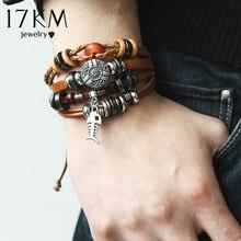 17KM 8 kinds Design Vintage Multiple Layer Leather Bracelet