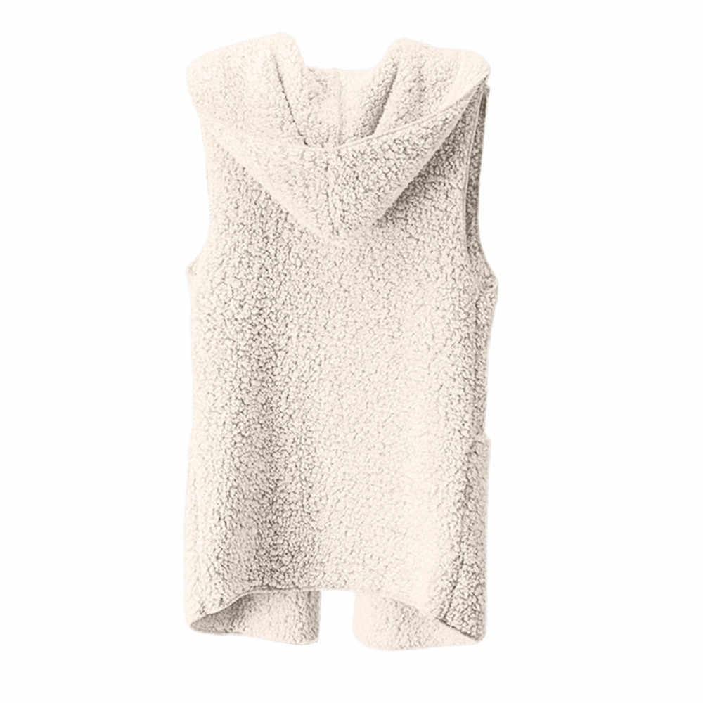 Phụ nữ Vest Áo Khoác Mùa Đông 2018 Màu Hồng Màu Vàng Dài Ấm Hoodie Áo Ghi Lê Cộng Với Kích Thước Chamarra Cazadora Mujer Áo Cho Cô Gái 18Oct22
