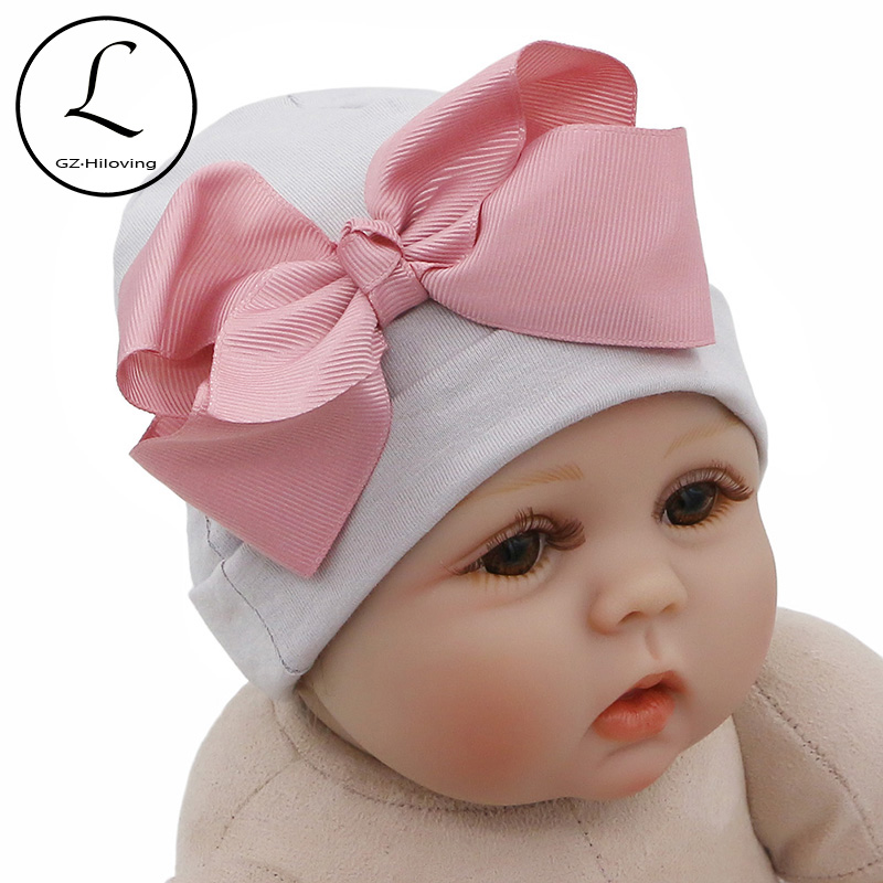 Newborn Girl baby hat /& big bow mittens set pink bows infant flower beanie New