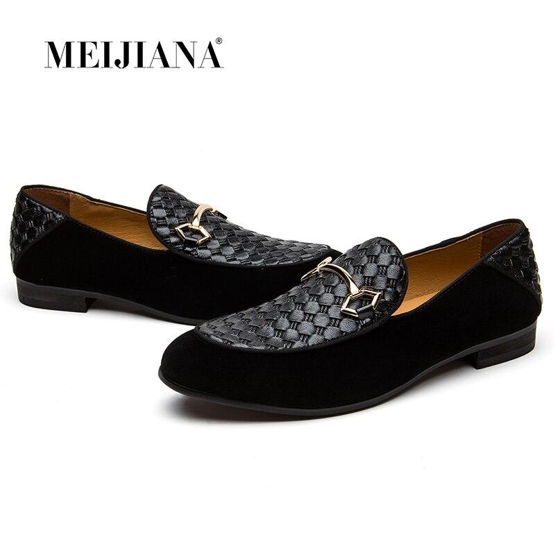 MEIJIANA marque de luxe Alligator mode chaussures hommes décontractées en cuir véritable noir sans lacet hommes mocassins robe appartements pour la fête de conduite
