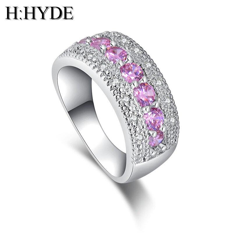 H: HYDE Außerordentliche 1 pc silber farbe elegante rosa zirkonia dame schmuck hochzeit ring für frauen größe 6- 9 anillos mujer