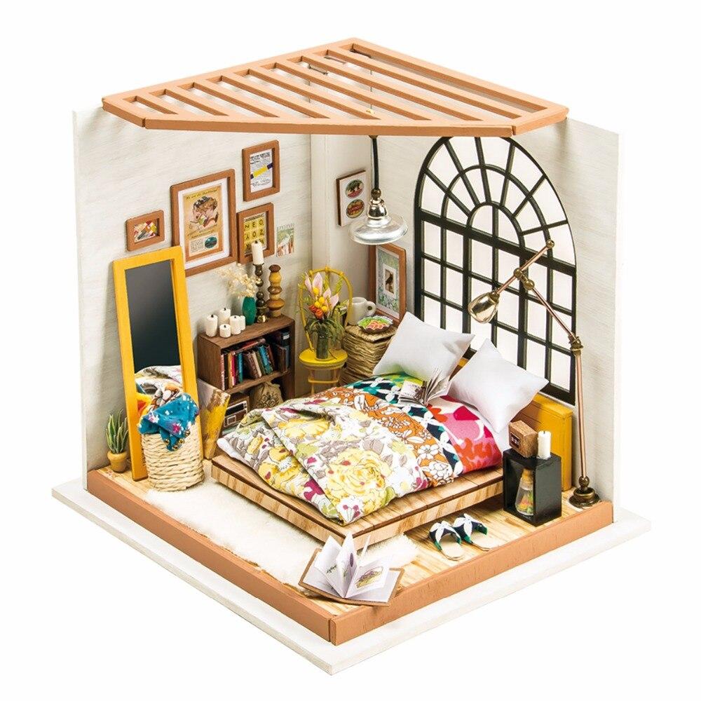 Robotime DIY Maison de Poupée Alice de Chambre de Rêve Enfants Adulte Miniature En Bois Dollhouse Modèle Kits de Construction Jouets DG107
