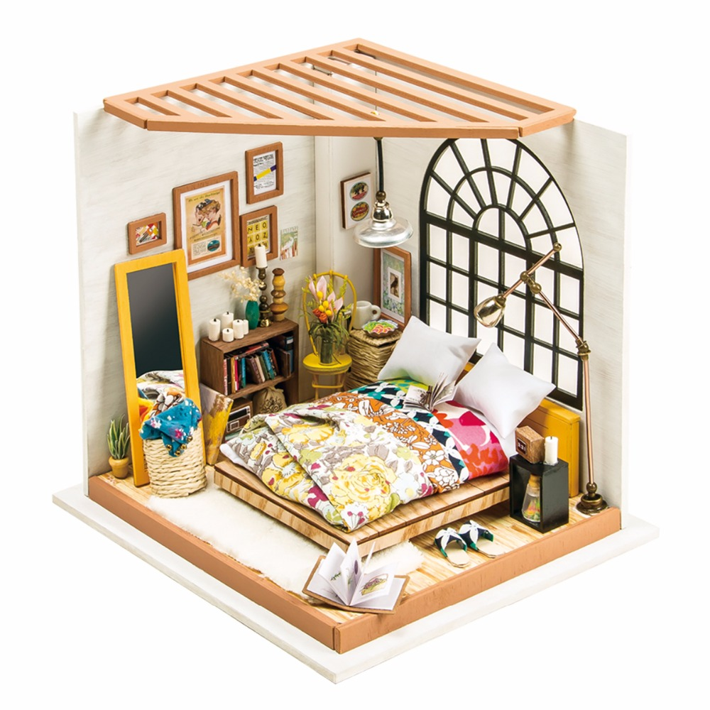 Robotime DIY Doll House Alice Drømmende Soverom Barn Voksen Miniature Wooden Dollhouse Modell Byggesett Leker DG107