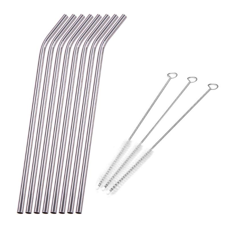 8Pcs/lot Reusable Straw With 3 Cleaner Brush For Home And Party Use