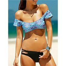 Drop ship 2017 New arrival Sexy Ladys 2 pieces half sleeves swimsuit drop shoulder swimwear women