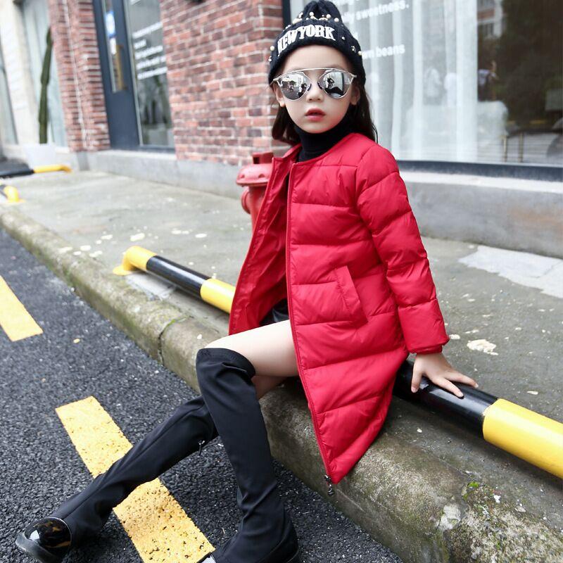 2016 Çocuk Kış Giyim Ceket Bebek Kız Aşağı Ceket Uzun stil Çocuklar Parkas Açık Giyim Kızlar Için Sıcak Wadded Ceket giysi