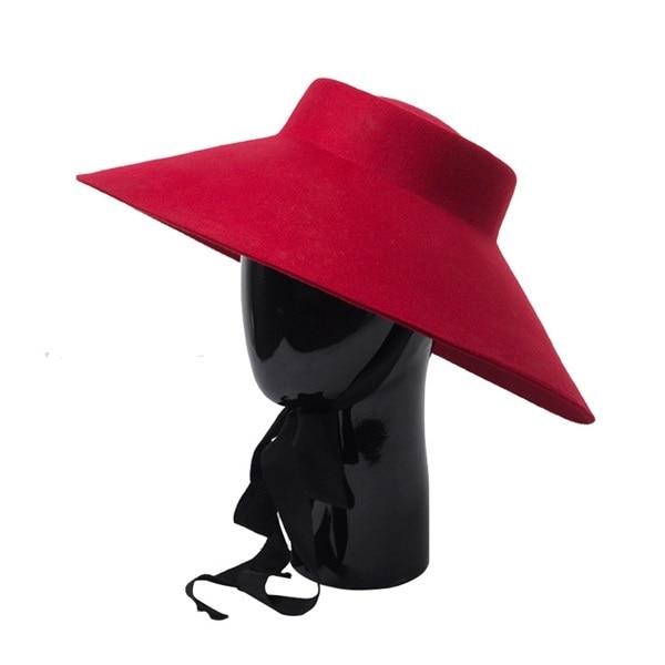 052a1f6af2152 3pcs Fashion Designer Red Wool Hats Women Wide Brim Felt Hat for Spring  Fall Winter Ladies Black Big Brim Woolen Caps Wholesale