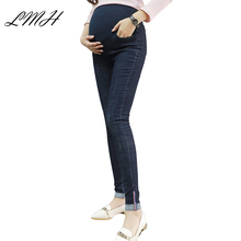 LANMEIHU 2017 woman jeans high waist size plus Elasticity maternity denim overalls  Leggings  Pregnancy Trousers maternity pants