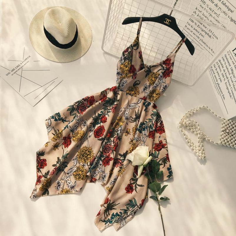Summer New Slim Floral Print Dress A-line V-neck Spaghetti Strap Pleated Asymmetric Dress Casual Boho/bohemia Beach Dresses