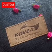 Factory Private Customzied Metal PU Leather Embossed Logo Sewing On Clothes Hand Made Private Label Branding