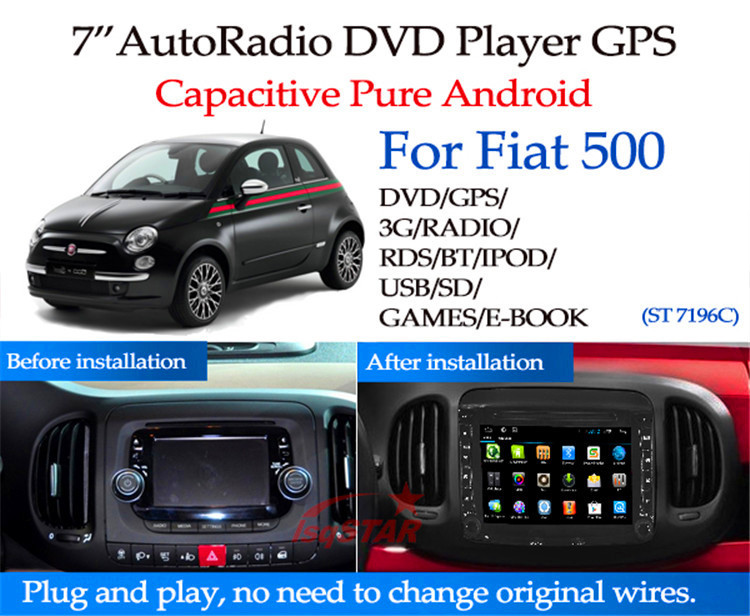 for pure android 6 0 fiat 500 car dvd player gps with dvd bluetooth radio gps 3g wifi android. Black Bedroom Furniture Sets. Home Design Ideas