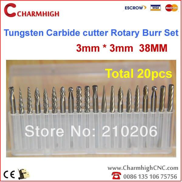 "20pcs 1//8/"" 3mm Tungsten Carbide cutter Rotary Burr Set CNC Engraving Bit Tools"