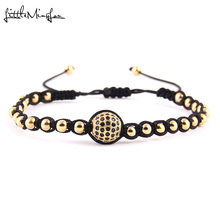 WML Men Luxury bracelet Black CZ Ball Connector & 4mm Round Beads Bracelets & Bangles Braided Macrame women Jewelry mccoy tyner mccoy tyner expansions