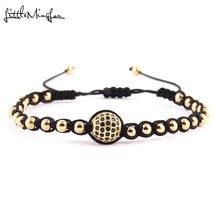 WML Men Luxury bracelet Black CZ Ball Connector & 4mm Round Beads Bracelets & Bangles Braided Macrame women Jewelry холст 40x55 printio i love gmo