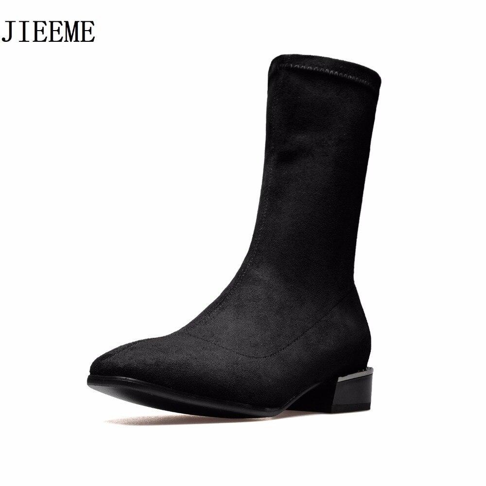 En Daim marron Carré Arrivée Gris Talons Bas Femmes Noir Mode Bout De Noir Mi Chaussures Rond 2018 mollet Nouvelle Bottes gris Slip on Enfant Femme wYpqYXg