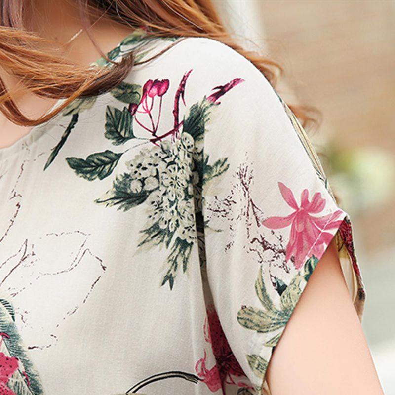 2018 Floral Moda De Mujeres A Blusas Camisa Las Camisas Gasa Suelto 2xl Tops Casual Nueva Blusa Corea Verano wCYFFq