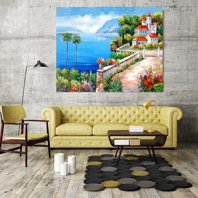 Vintage Home Decor Landscape Mediterranean Sea Picture for ...