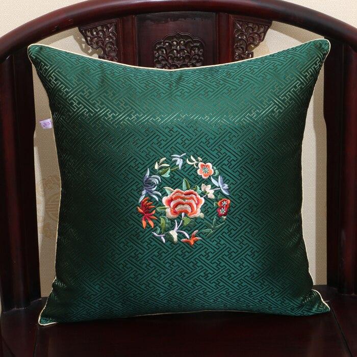Fret Fine Embroidered Decorative Silk Cover Pillow Christmas Sofa Chair Flower Cushion Cover High End Pillowcases Home Decor