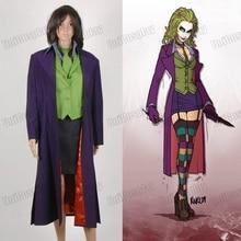 Бэтмен Темный рыцарь Харли Квинн Косплэй костюм женщина Джокер зима Костюмы для будущих мам фиолетовый Тренчи жилет, рубашка, юбка на Хэллоуин наряд