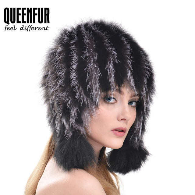 3ab4bd46b67 QUEENFUR 2016 Winter Real Silver Fox Fur Cap Women Fashion Stripe Knitted  Natural Fox Fur Hat