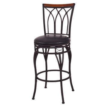 Giantex Vintage Swivel Bar Stool 24 28 Height Adjustable Padded Seat Bistro Pub Chair HW54180 wahson tufted round back swivel accent chair contemporary adjustable leather chrome vanity chair lounge pub bar bedroom white