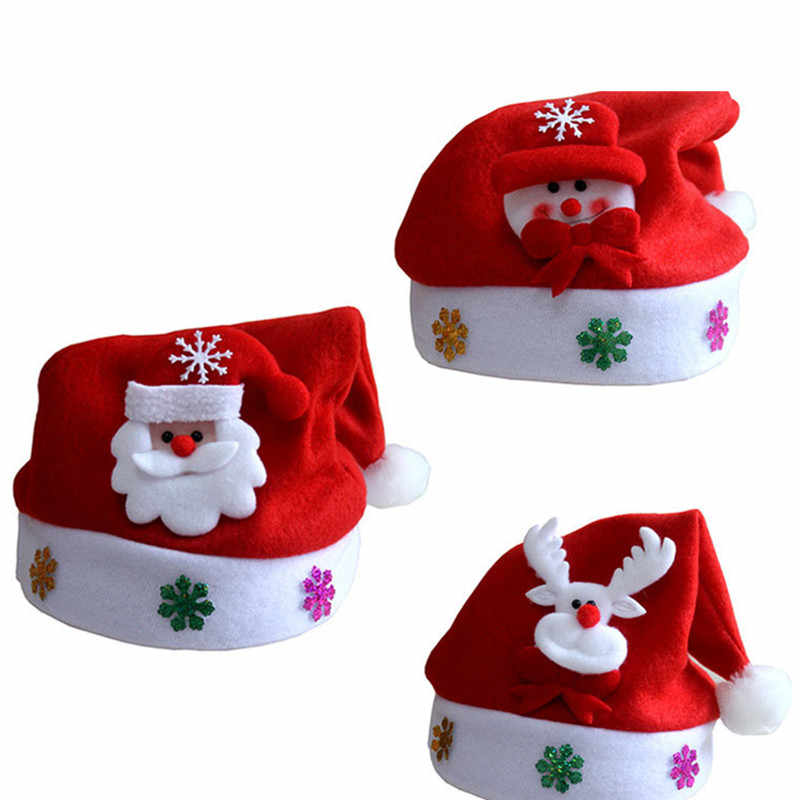 1Pcs Lovely Santa Snowman Reindeer Kids Christmas Hat Christmas Gifts For 2-7 Years Old Children Mew Year Gift