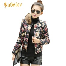 Winter Jacket Women 2018 New Fashion O Collar Coat Female Parkas Floral Printed Down Padded Jacket ST042