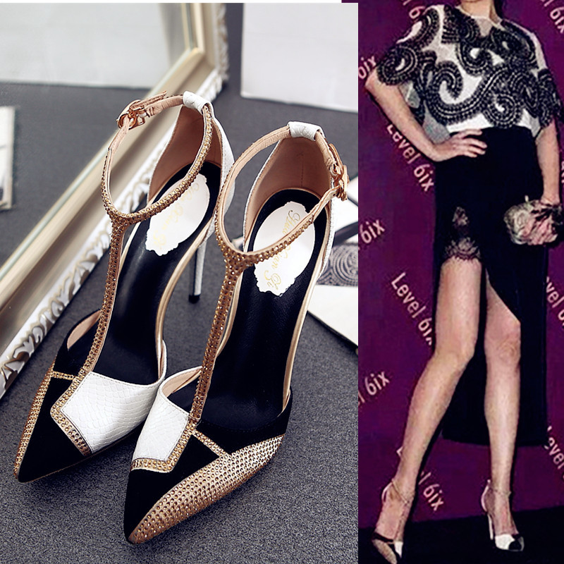 Einfache Strass Europäischen Sexy Und Schuhe Sandale 2018 Spitze Amerikanischen Farbe Absätze Frauen Mit 1 Neue Temperament gqq85nHRx