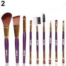 9Pcs Professional Cosmetic  Blush Lip Makeup  Brush Eyebrow Eyeliner Beauty Brushes Tool   Set   Chic Design