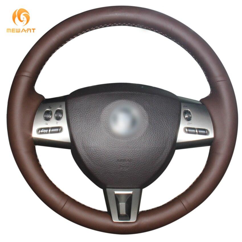 MEWANT Coffee Genuine Leather Car Steering Wheel Cover for Jaguar XF XF S XF Sportbrake 2008-2015